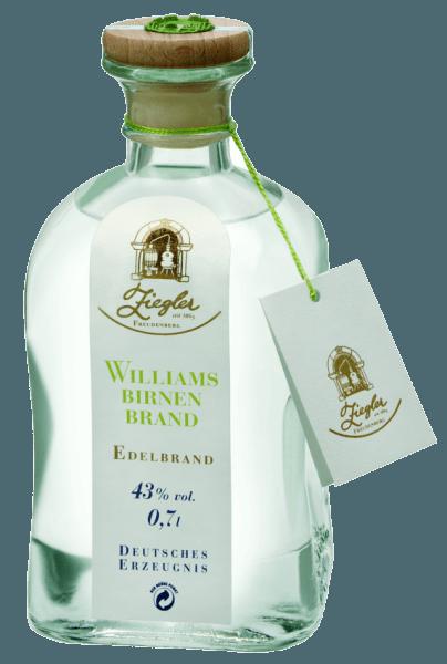 Cette eau-de-vie de fruits est produite uniquement à partir des meilleures poires Williams-Christ provenant des hautes altitudes du Valais, du Vinschgau et de la Styrie. Elle est pleine de fruité et de densité. L'eau-de-vie de poire Williams de Ziegler se gâte avec l'arôme de fruit typique de la variété : fraîcheur fruitée, légèrement fleurie et délicatement parfumée. En bouche, il est souple, doux, long, fruité et très aromatique avec une force racée et une finale élégante et douce. Elle est considérée comme la plus populaire des eaux-de-vie de fruits, en raison de son arôme exceptionnellement parfumé et épicé. Lisse, profond et très aromatique, il est facilement reconnaissable à son arôme. Que ce soit en complément d'un dessert avec les fruits correspondants (tartelettes), en digestif ou pour des cocktails - il s'adapte parfaitement à toutes les occasions.
