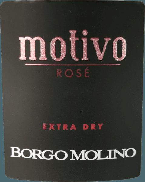 """Le Motivo Rosé extra sec de Borgo Molino est un excellent apéritif de Glera, Raboso et Pinot Nero. Ce haut spumante de la Vénétie se délecte avec beaucoup de fruits vifs et un goût merveilleusement fruité au palais ! Le Motivo Rosé de Borgo Molino se présente en rose vif dans le verre. Un perlage fin et persistant, associé à un bouquet fruité et intense rappelant la framboise, la fraise et la rose, caractérise cette cuvée. Frais, juteux et d'un goût vif, le Motivo Rosé fait tout bien. Un vin mousseux du Nord de l'Italie, qui sait inspirer immédiatement et qui dit déjà avec sa forme de bouteille inhabituelle """"Voici quelque chose de spécial ! Vinification du Borgo Molino Motivo Rosé Le Motivo Rosé est vinifié à Borgo Molino à partir des cépages Glera, Raboso et Pinot Nero. Les raisins sont cultivés dans la région de la Marca Trevigiana et sont récoltés au moment de leur maturité optimale. Recommandation alimentaire pour le rosé Borgo Molino Motivo Dégustez cet extraordinaire vin mousseux de Vénétie en apéritif ou avec des plats de fruits de mer aromatiques. Prix pour le Motivo Rosé IWSC 2017 : Argent Luca Maroni 2017 : 90 points Mundus Vini 2013 : Argent"""