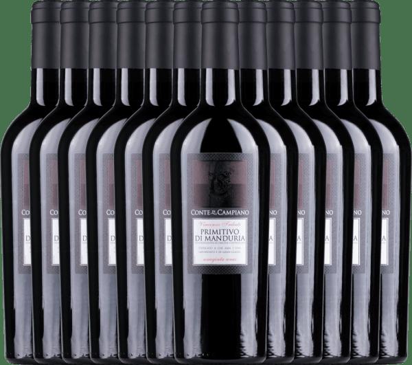12er Vorteils-Weinpaket Primitivo di Manduria DOC 2020 - Conte di Campiano